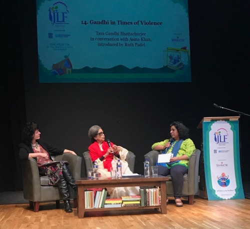Gandhi in Times of Violence, Tara Gandhi Bhattacharjee in conversation with Asma Khan, introduced by Ruth Padel